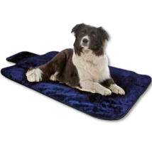 Blue Furry Blanket w. waterproof bottom