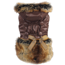 Elegant Fleece Coat w. Fur & Bow - Brown