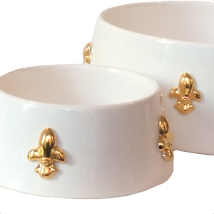 Handmade Ceramic Bowl w. Gold Plated Lillies - White