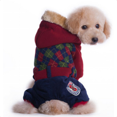 4-legged College Suit all Cosy Fur inside - Red/Green