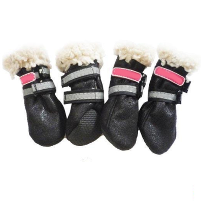 Boots w soft fur inside - Black 4 Pcs