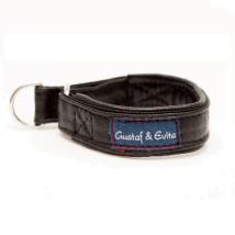 Half Check Collar Black Leather