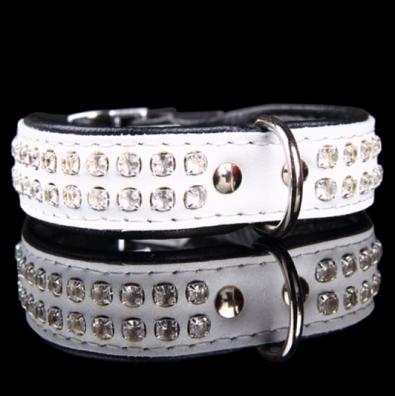 Leather Collar with Rhinestones 2 row - White