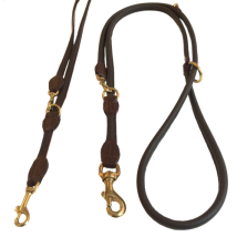 Round Ajustable Leash Brass Buckle - Brown
