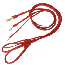 Round Leash w Brass Buckle - Red