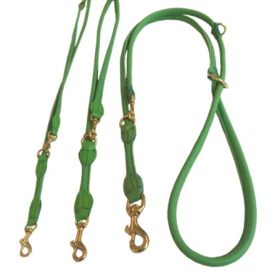 Round Ajustable Leash Brass Buckle - Green