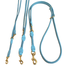 Round Ajustable Leash Brass Buckle - Baby Blue