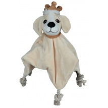 Snugly Cloth w Sound Dog - Beige 28x28cm