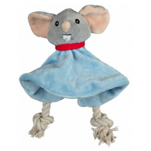 Snugly Cloth w Sound Mouse - Blue 18x18cm