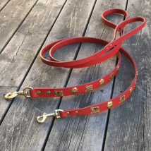 Genuine Alp Leash w Brass Buckle - Red