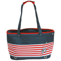 Marine Canvas Bag w Bow - Blue/Red/White 42x21x27cm