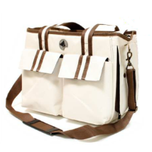 Sporty Summer Canvas Bag - Off White/Brown Straps 41x21x31cm