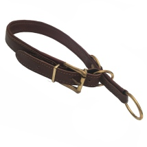 Nordic Elk Leather Adjust. Half Check Collar Brass - Brown