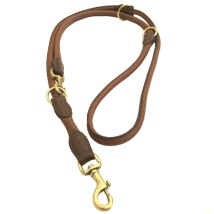 Carmel Leather Leash Round Adjust. Brass - Brown