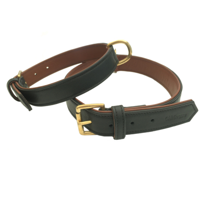 Carmel Leather Collar Brass - Black/Brown