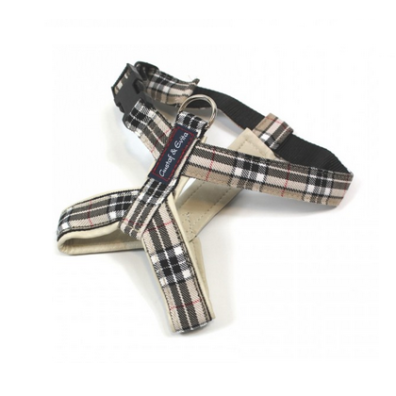 Leather Harness Checked Beige