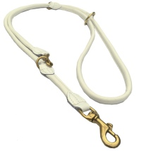 Round Ajustable Leash Brass Buckle - White