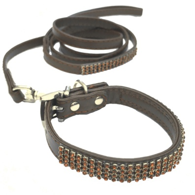 Collar/Leash Set w Crystals - Brown L:22-27cm Tot:30cm