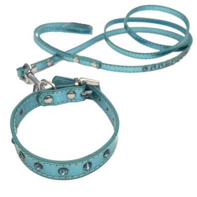 Collar/Leash Set crystals blue