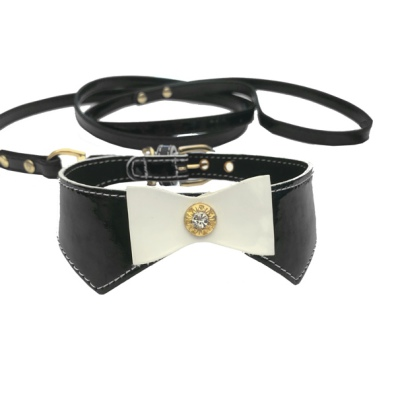 Set Collar & leash  - Black L:29-34cm Tot:37cm