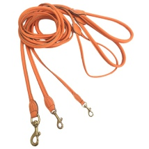 Round Leash w Brass Buckle - Orange