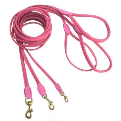 Round Leash w Brass Buckle - Dark Pink