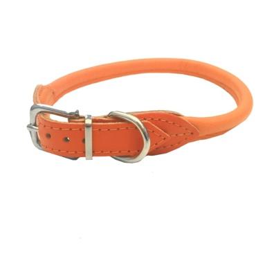 Round Leather Collar - Orange