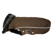Narvik (for PUGS&Co) Fleece Coat Fur Collar - Brown