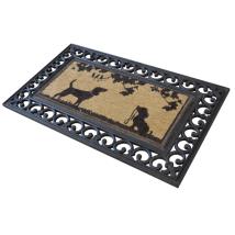 Coconut Door Mat w Rubber Border and Dog Print