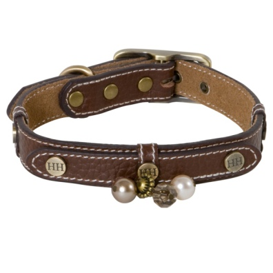 Darlington Leather Collar w Brass Details and Beads - Brown