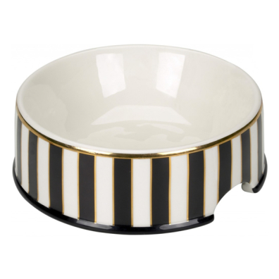 Porcelain Bowl w Stripes - Black/White/Gold