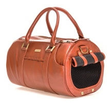 Real leather Bag w Brass Details - Cognac