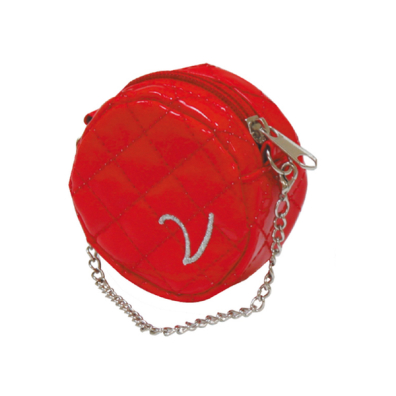 Poo Bag Holder Round w Chain - Red