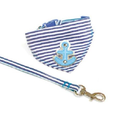 Marine Set Bandana & Leash Adjustable - Blue
