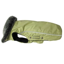 Narvik Fleece Coat Fur Collar - Lime Green