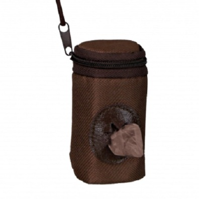 Nylon Zipper Poobag Holder - Brown
