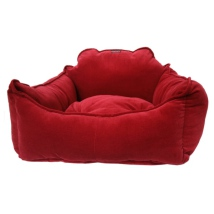 Lush Velvet Bed - Deep Red
