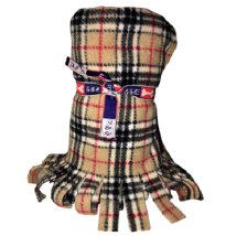 Fleece Blanket w Fringe - Beige Checked