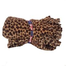 Fleece Blanket w Fringe - Leopard