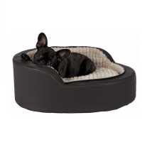 Solid Oval Bed w Open Front - Brown/Taupe