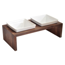 Maebashi Double Bowl Wooden Table - Dark Walnut