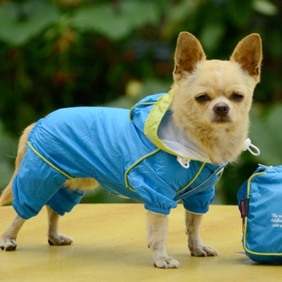 4-Legged Light Wind/Rain Suit w Pouch - Light Blue