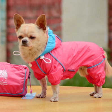 4-Legged Light Wind/Rain Suit w Pouch - Pink