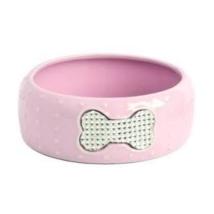Porcelain Bowl w Rhinestones - Pink