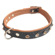 Jax Leather Collar Leather Collar w Colored Crystals - Black/Brown W:1,4cm