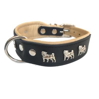Dogville Collar w Dog Decorations Pug - Black/Beige