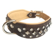 Christy Leather  Collar w Clear Crystals - Brown/Beige