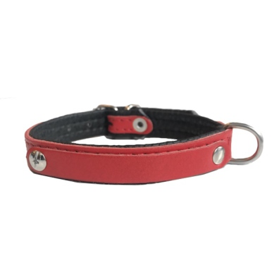 Leather Charm Collar - Red