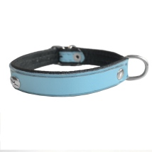 Leather Charm Collar - Baby Blue