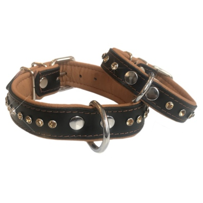 Vermont Leather Collar w Colored Crystals - Black/Brown W: 2cm